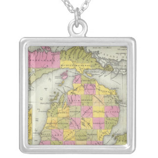 New Map Of Michigan 2 Silver Plated Necklace