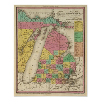 New Map Of Michigan Poster