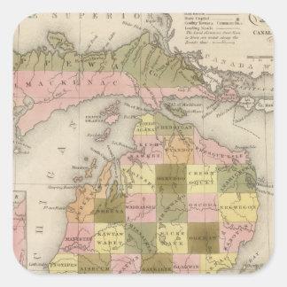 New Map Of Michigan Square Sticker