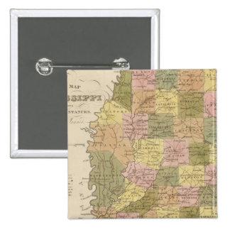 New Map Of Mississippi 15 Cm Square Badge