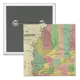 New Map Of Mississippi 2 15 Cm Square Badge