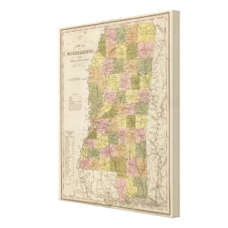 New Map Of Mississippi 2 Canvas Print