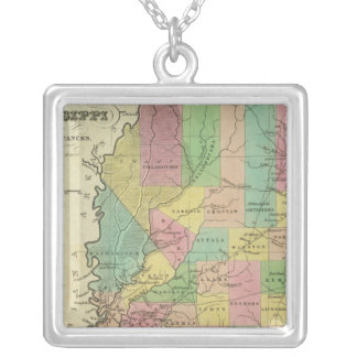 New Map Of Mississippi 2 Silver Plated Necklace