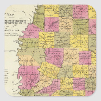 New Map Of Mississippi Square Sticker