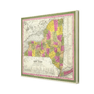 New Map Of New York 2 Canvas Print