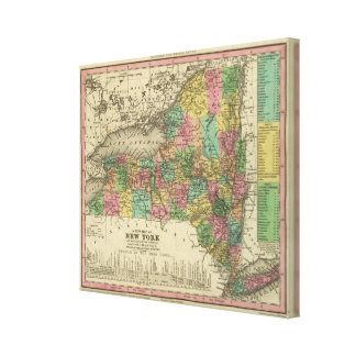 New Map Of New York Canvas Print