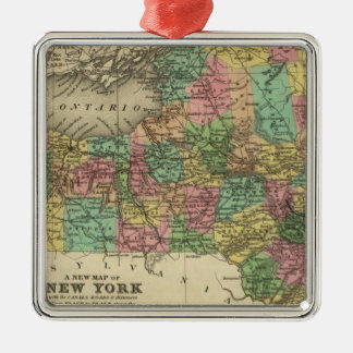 New Map Of New York Silver-Colored Square Decoration
