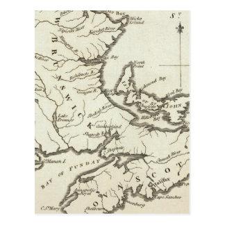 New Map of Nova Scotia New Brunswick Postcard