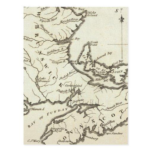 New Map of Nova Scotia, New Brunswick Postcard
