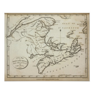 New Map of Nova Scotia, New Brunswick Poster