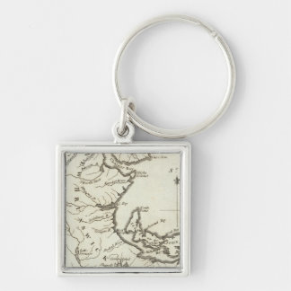 New Map of Nova Scotia, New Brunswick Silver-Colored Square Key Ring