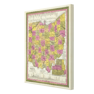 New Map Of Ohio 2 Canvas Print