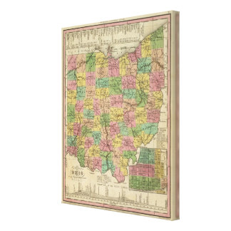 New Map Of Ohio Canvas Print