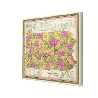 New Map Of Pennsylvania 2 Canvas Print