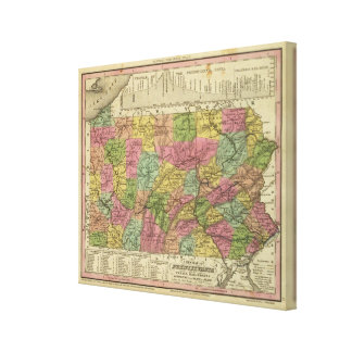 New Map Of Pennsylvania Canvas Print