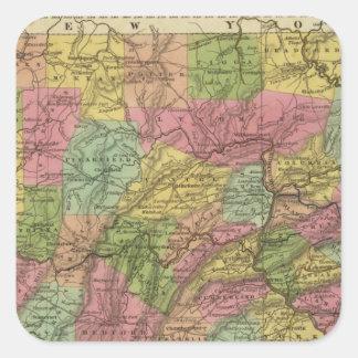 New Map Of Pennsylvania Square Sticker