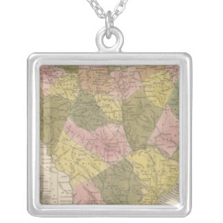 New Map Of South Carolina 2 Silver Plated Necklace