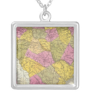 New Map Of South Carolina Silver Plated Necklace