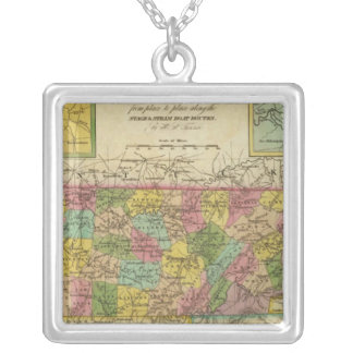 New Map Of Tennessee 2 Silver Plated Necklace