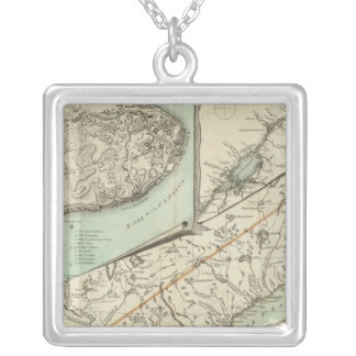 New Map Of The Province of Quebec Silver Plated Necklace