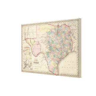 New Map of the State of Texas Canvas Print