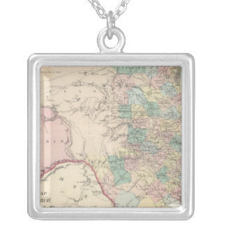 New Map of the State of Texas Silver Plated Necklace