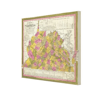 New Map Of Virginia 2 Canvas Print