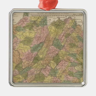 New Map Of Virginia Silver-Colored Square Decoration