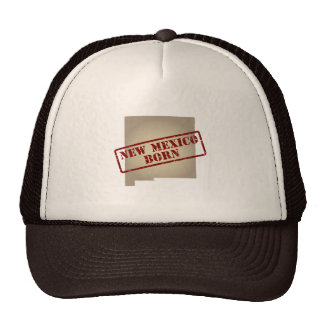 New Mexico Born - Stamp on Map Mesh Hat