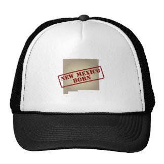 New Mexico Born - Stamp on Map Trucker Hats