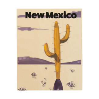 New Mexico Cactus vintage style vacation poster. Wood Wall Decor