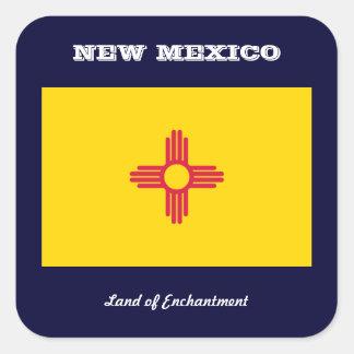 NEW MEXICO FLAG AND SLOGAN SQUARE STICKER