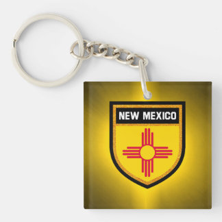 New Mexico Flag Double-Sided Square Acrylic Key Ring