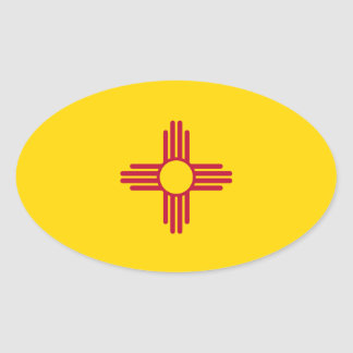 New Mexico* Flag Euro-style Oval Oval Sticker