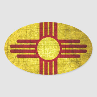 New Mexico Flag Oval Sticker