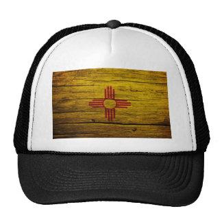 New Mexico flag rustic wood Cap