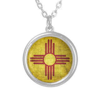 New Mexico Flag Silver Plated Necklace