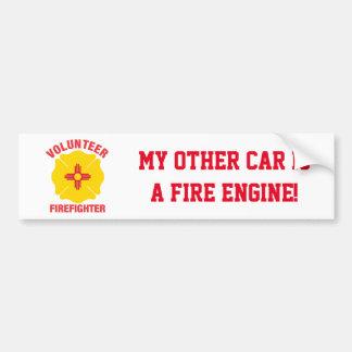 New Mexico Flag Volunteer Firefighter Cross Bumper Sticker
