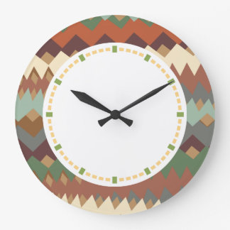 New Mexico Green and Brown ZigZag Camouflage Large Clock