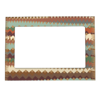 New Mexico Green and Brown ZigZag Camouflage Magnetic Picture Frame