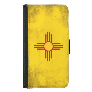 New Mexico Grunge- Zia Sun Symbol Samsung Galaxy S5 Wallet Case