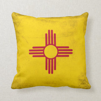 New Mexico Grunge- Zia Sun Symbol Throw Pillow