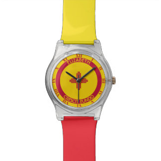 New Mexico Land Of Enchantment Personalized Flag Wrist Watch