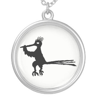 New Mexico Petroglyph Road Runner Silver Plated Necklace