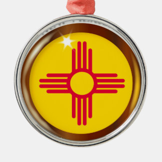 New Mexico Proud Flag Button Silver-Colored Round Decoration