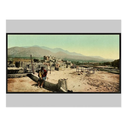 New Mexico. Pueblo de Taos classic Photochrom Postcard