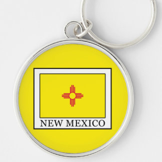 New Mexico Silver-Colored Round Key Ring
