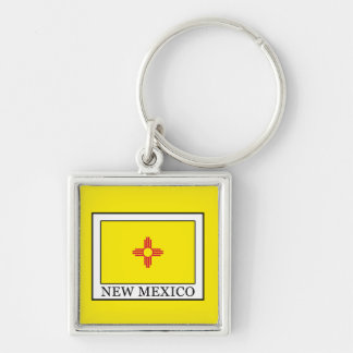 New Mexico Silver-Colored Square Key Ring