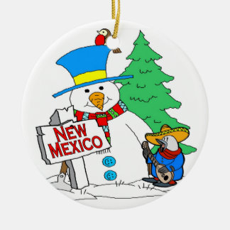 New Mexico Snowman Christmas Ornament