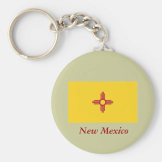 New Mexico State Flag Basic Round Button Key Ring